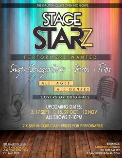 STAGE STARZ OPEN MIC NIGHTS AT THE GALSTON CLUB Galston Hornsby Area Preview