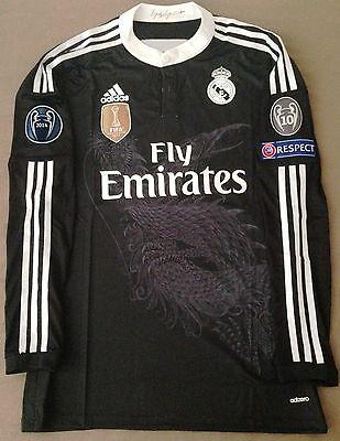 Real Madrid 14/15 adizero Ronaldo black third dragon jersey shirt Bale Ramos LS
