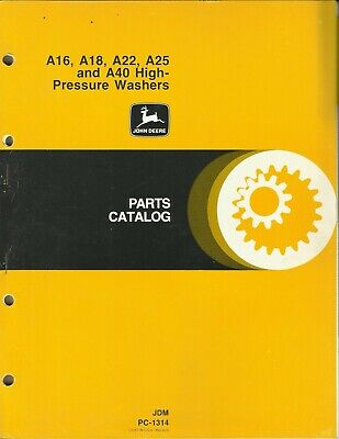 John Deere High-pressure Washers A16 A18 A22 A25 A40 Jdm Pc-1314 Parts Catalog