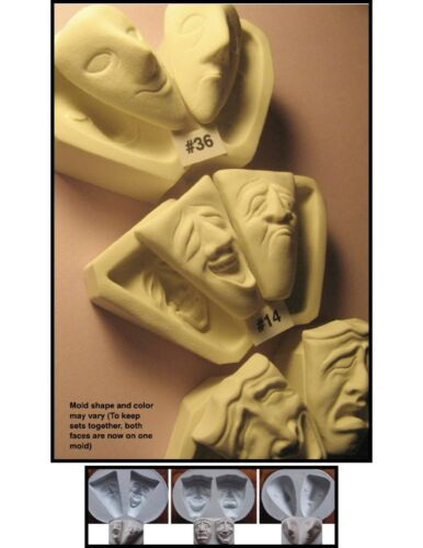 YOUR CHOICE (SET) - FG Flexible Silicone Molds of Comedy Tragedy Doll Face Cabs