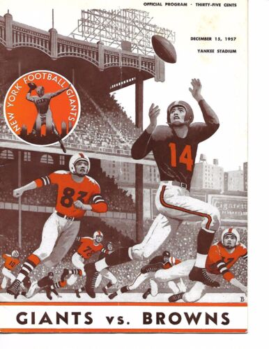 1957 New York Giants-Browns Program Browns Roll Past Giants NICE!!