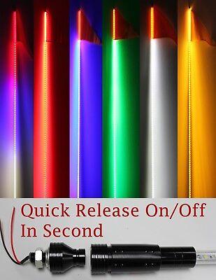 4 feet ATV UTV Led light bulb whip with flag Quick Release- 6 color available - Led Flag
