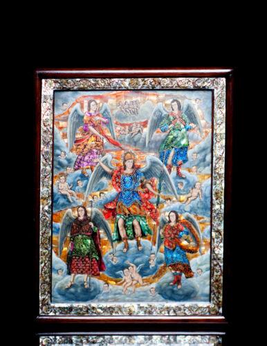 Archangels Painting Mother Pearl Inlay Nacre  Michael Raphael Sealtiel Gabriel