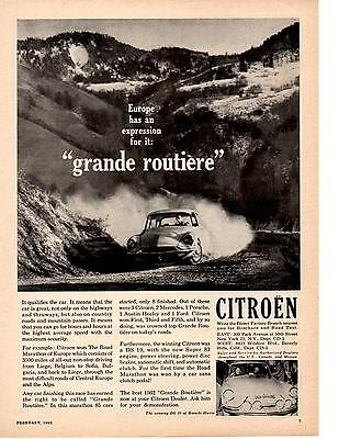 1962 CITROEN @ ROAD MARATHON OF EUROPE   ~  NICE ORIGINAL PRINT AD