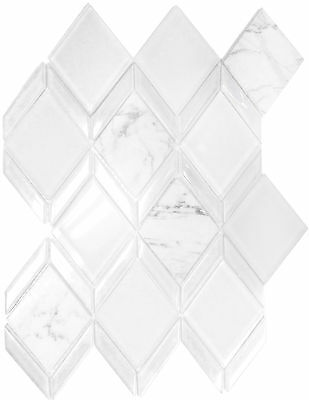 Diamond White Polished & Frosted Glass & Carrara Marble Kitchen Bath Mosaic-1