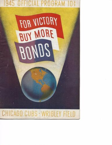 1945 Chicago Cubs-Cardinals Program Cards Sweep Three BEAUTY!!