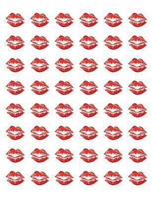 Valentines Stickers (48 VALENTINES RED LIPS KISS ENVELOPE SEALS LABELS STICKERS 1.2