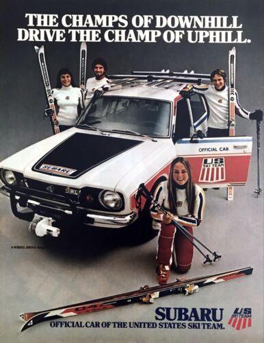 1978 U.S. Downhill Ski Team photo Official Car Subaru Wagon vintage print ad