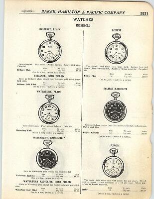 1923 PAPER AD 3 PG Ingersoll Pocket Watch Radiolite Dial Waterbury Glo Ben