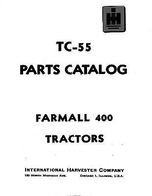 Farmall International 400 Tractor Parts Catalog Book Reproduction