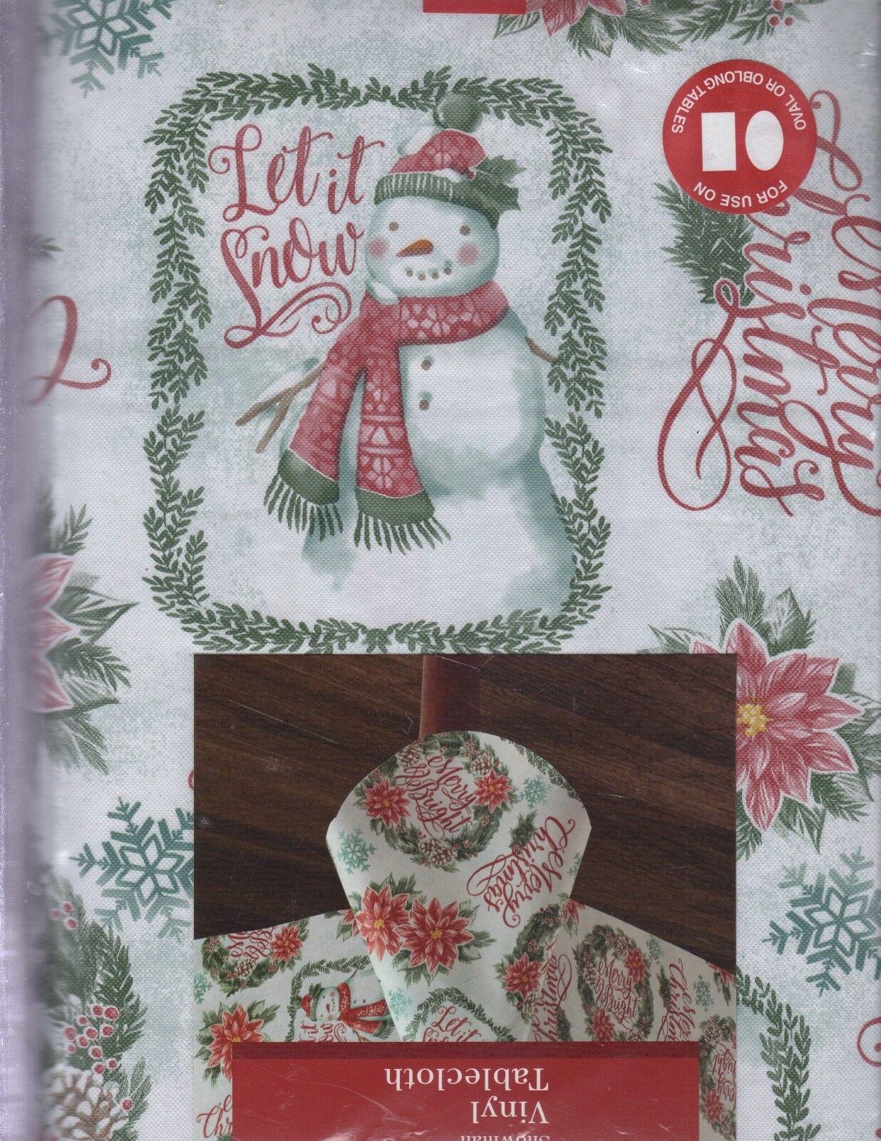 NEW CHRISTMAS SNOWMAN TABLECLOTH VINYL FLANNEL BACKED
