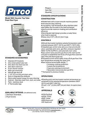 Pitco Sgc Natural Gas 35 Counter Top Fryer Millivolt Controls New