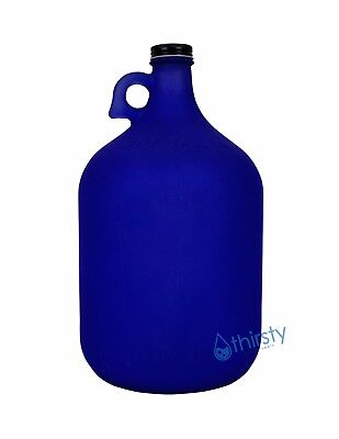 1 Gallon Frosted Glass Water Bottle Jar Jug Canteen Brew Container Canteen BLUE