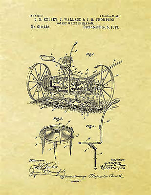 Display Art Print Us Patent For Rotary Wheeled Harrow Farm Equipment Kelsey 1893