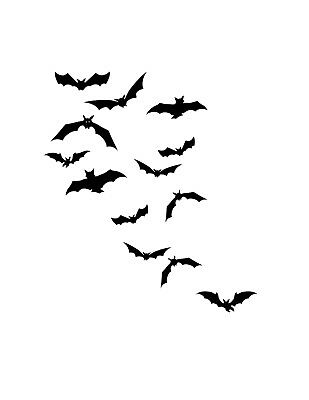 Flying Bats Sticker - Halloween Window Wall Decal Scary Creepy Vinyl Night - Scary Halloween Window