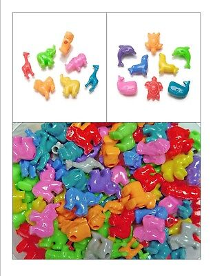 Plastic Beads ANIMALS, SEA LIFE Pony Bead ~ Mixed Colors Lion, Whale, Giraffe ++