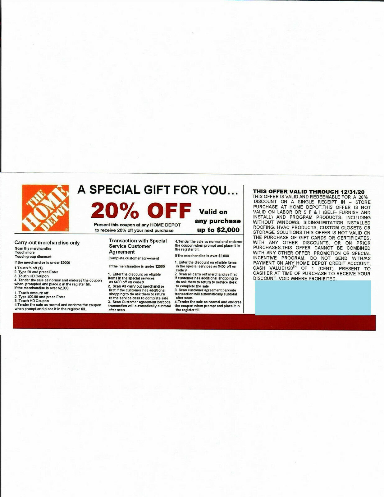 4 20 OFF HOME DEPOT Competitors Coupon At Lowe s Exp 12/31/20  - $20.00