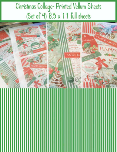 Scrapbooking Vellum Paper - Printed Vellum Sheets - Christmas Collage