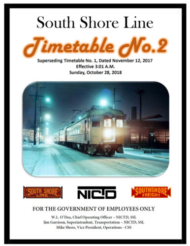 South Shore Line Chicago Employee Timetable #2 28OCT2018 NICD SYSTEM ETT