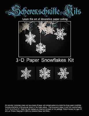 Scherenschnitte Kits 3-D Paper Snowflake Christmas Hanging Ornament Patterns