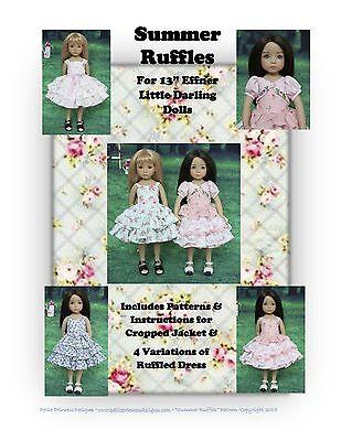 """Summer Ruffles"" Ruffled Dress Pattern for 13"" Effner Little Darling Dolls"