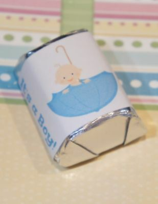 30 Baby Shower It's a Boy Umbrella Hershey Candy Nugget Wrappers Stickers ](Baby Boy Candy)