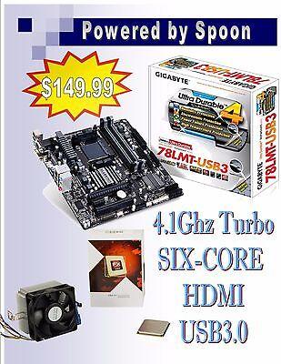 Gigabyte MB 78LMT-USB3 + AMD FX 6-Core FX-6300 4.1 GHz (turbo) CPU Combo, NEW!!!