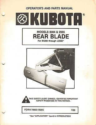 Kubota 2004 2005 Rear Blade Operators Manual For B6100 Thru B7200 Tractors