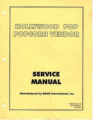 Rowe Hollywood Pop Popcorn Vendor Service Manual Vending Mach. 40 Pages P D F