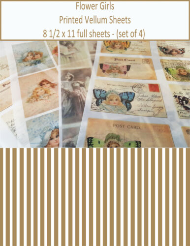 Scrapbooking Vellum Paper - Printed Vellum Sheets -Flower Girls