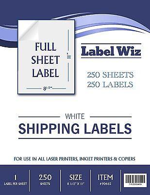"250 Full Sheet shipping Label - 8.5"" x 11"" (Same size as Avery 5165) Label Wiz"