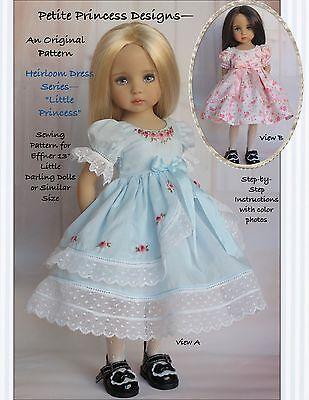 """Little Princess"" Heirloom Dress Pattern for 13"" Effner Little Darling Dolls"