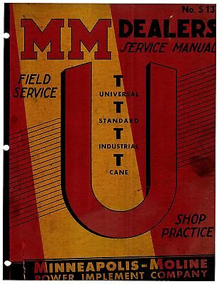 Minneapolis Moline U Ut Tractor Service Manual Reproduction