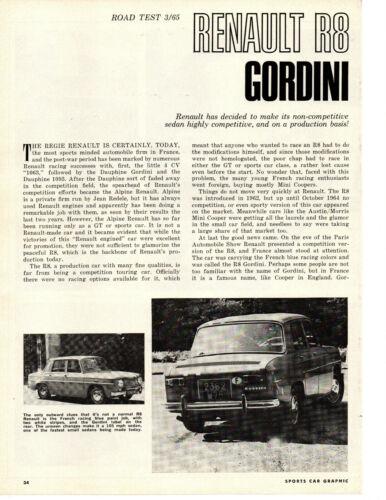 1965 RENAULT R8 GORDINI ~ ORIGINAL 5-PAGE ROAD TEST / ARTICLE / AD