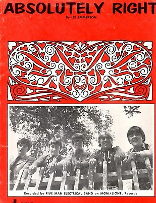 Five Man Electrical Band sheet music Absolutely Right 1971 5 pages (VG+ shape)
