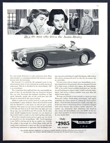 """1955 Austin-Healey 100 Convertible photo """"Attracts Enthusiasm"""" vintage print ad"""
