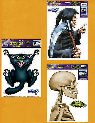 HALLOWEEN NOVELTY CAR WINDOW DECORATIONS - Grim Reaper, Skeleton or Crazy Cat - Car Halloween Decorations