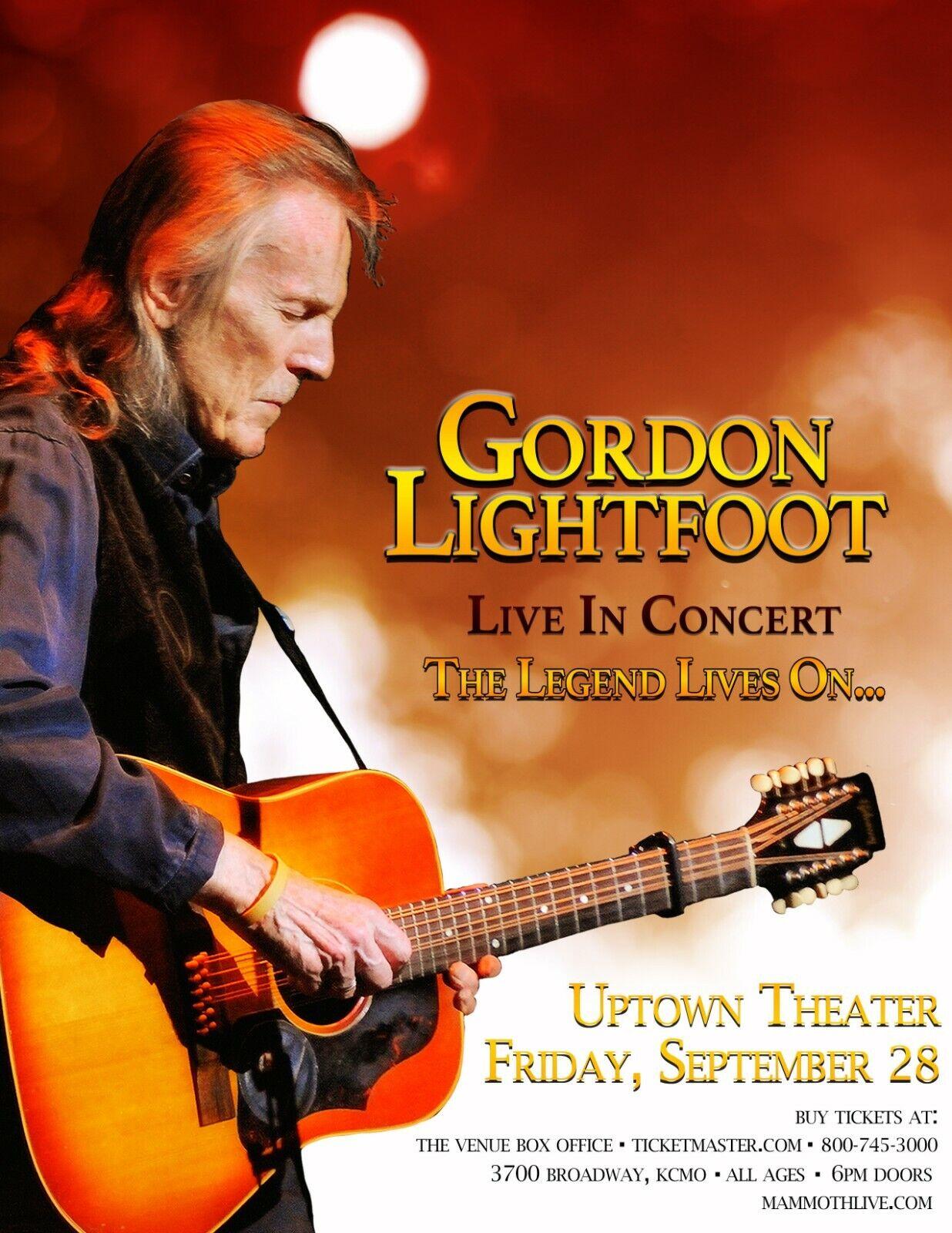 GORDON LIGHTFOOT 2018 KANSAS CITY CONCERT TOUR POSTER - Folk Rock, Country Music - $11.99