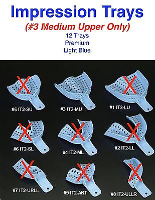 Dental Disposable Impression Trays Size 3 Medium Upper Only - 12 Trays Per Bag