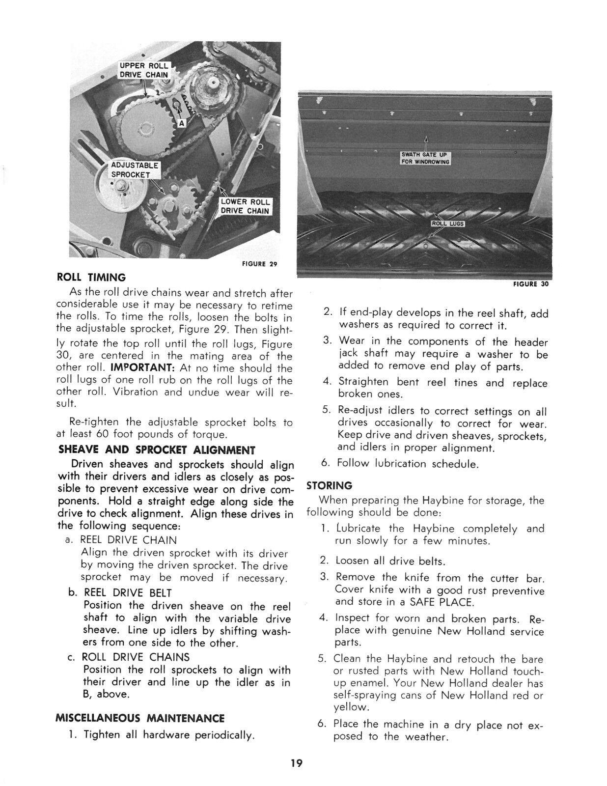 New Holland 469 Haybine Mower Conditioner Operator's AND