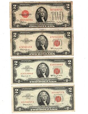 - 4 Different Red Seal $2.00 United States Notes Series 1928D 1953C 1963 1963A