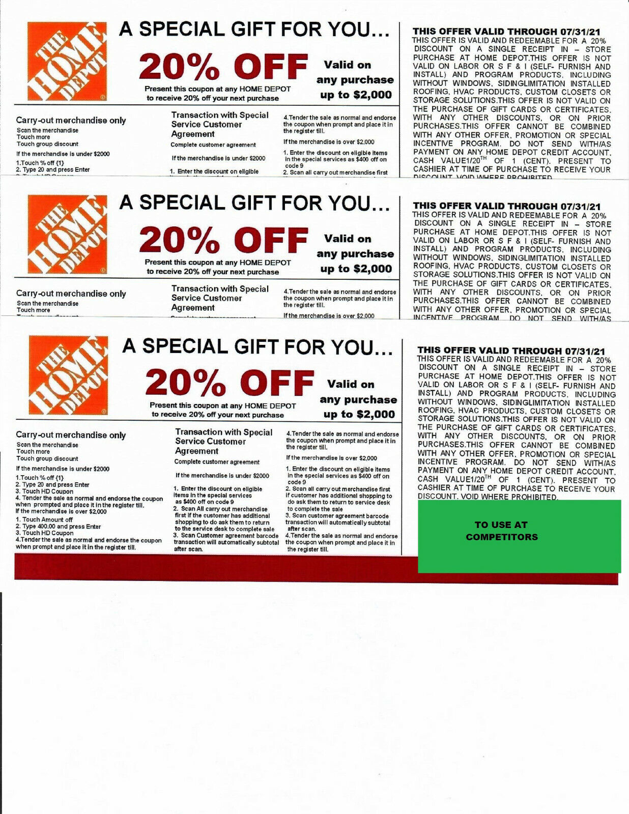 4 20 OFF HOME DEPOT Competitors Coupon Exp 07/31/21 - $20.00