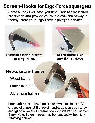 2 Screen Hooks For Ergo-force Squeegees Screen Printing Squeegee Screen-hooks