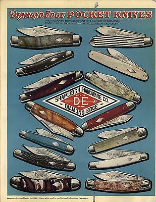 1923 Paper AD Shapleigh Diamond Edge Pocket Knife Knives COLOR