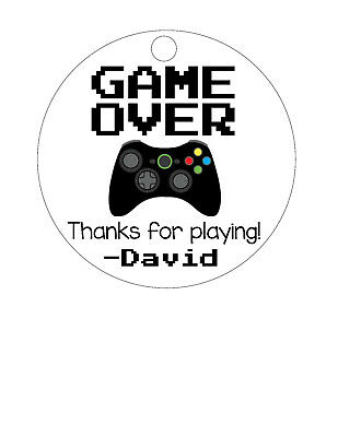 12 Personalized Custom Birthday Party Favor Tags. Gamer, video game controller](Party Favor Tags)