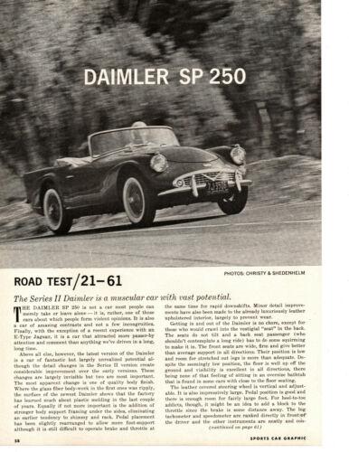1961 DAIMLER SP 250 ~ ORIGINAL 5-PAGE ROAD TEST / ARTICLE / AD