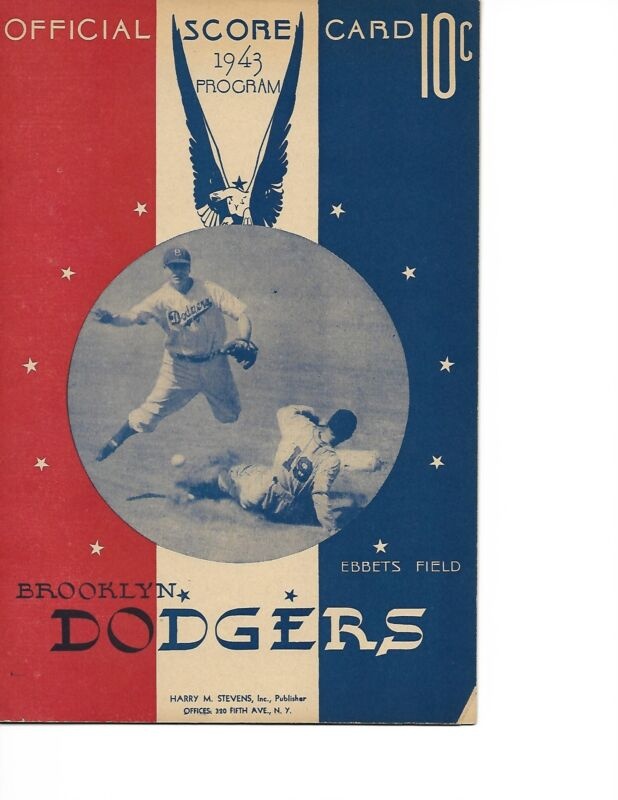 1943 Brooklyn Dodgers-Cardinals Program Musial Hits Pair of Homers NICE!!