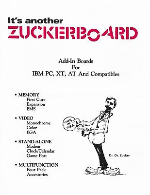 Vintage Zuckerboard Add-In Boards IBM PC XT AT Computers quad fold brochure