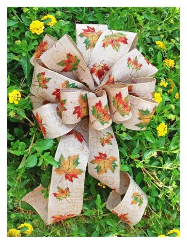 """Bows 10"""" Wide Burlap Type Tan Green Leaf Ribbons 2 1/2"""" Wired Christmas Weddings"""
