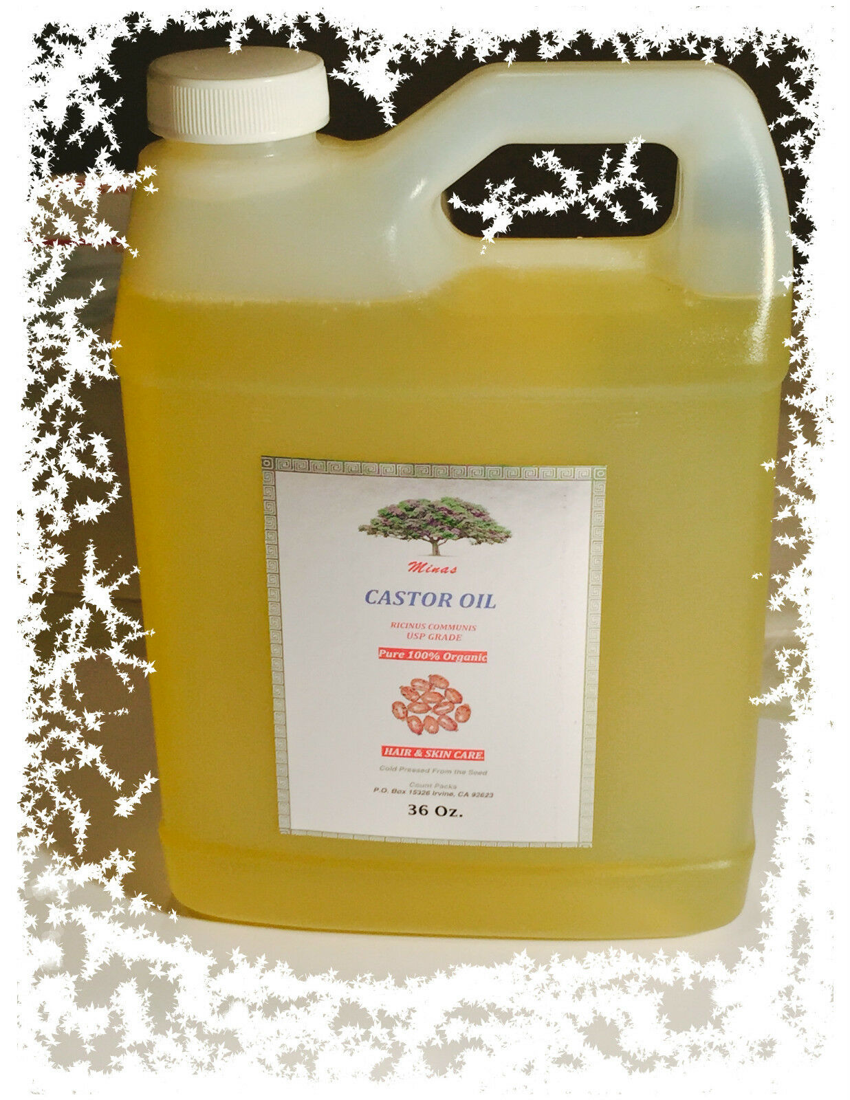 Organic CASTOR OIL  36 Oz. GRADE COLD PRESSED  premium grade